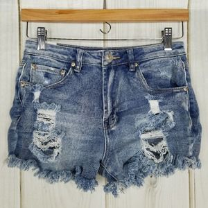 Almost Famous High-rise Mom Waist Destroyed Shorts